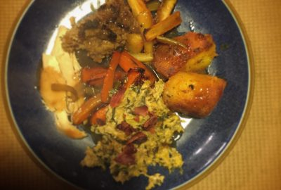 roast dinner featuring stuffing